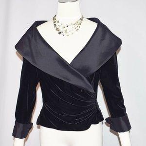 Tadashi Black Velvet Shawl Collar Wrap Style Top